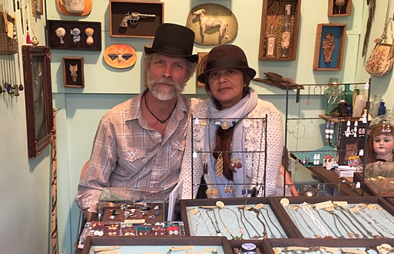 Scott Jordan and Belle Costes at their booth of jewelry made with antiques and other found objects at the Union Square Holiday Market 2014-15